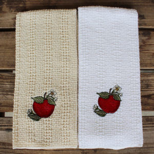 Embroidered apples kitchen towel
