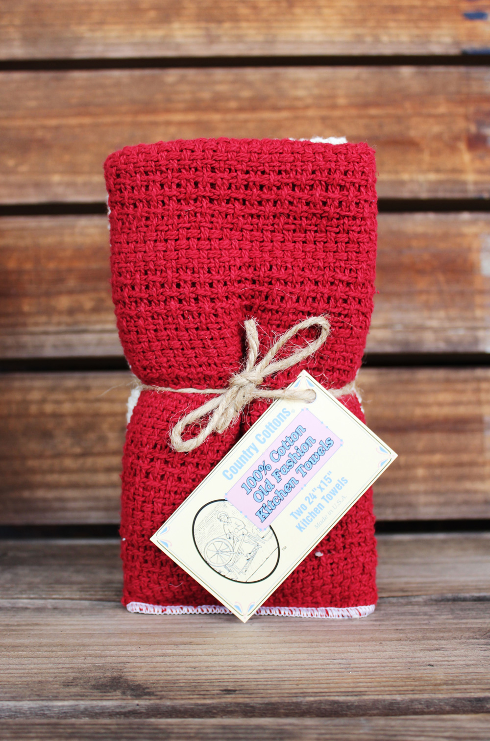 Apple Red & Natural Kitchen Towels