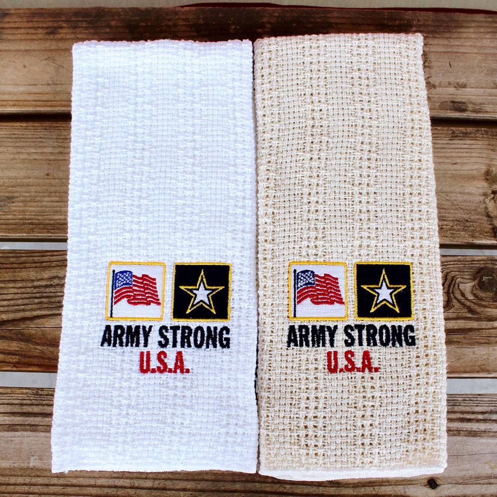 army strong embroidered kitchen towel