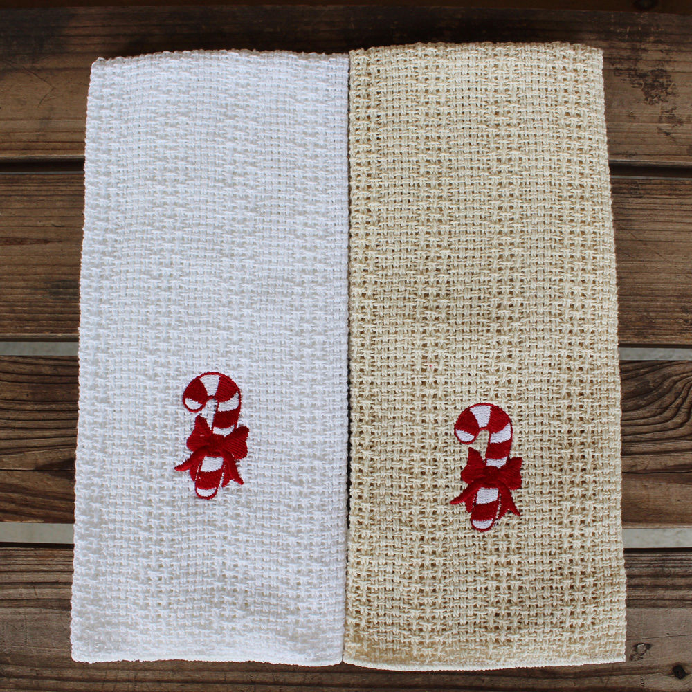 candy cane embroidered kitchen towel