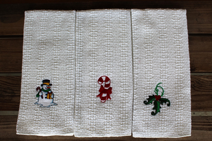 Embroidered Christmas Kitchen Towels