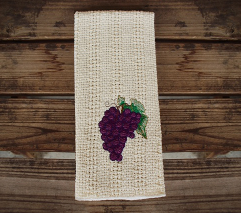 24 X15 Cotton Kitchen Towel With Decorative Embroidery