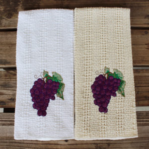 Embroidered grapes kitchen towel