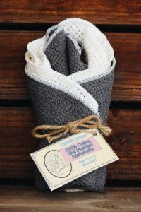 grey and natural dishcloths