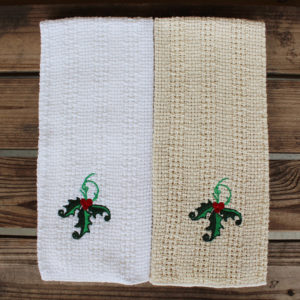 Kitchen Towel with Holly embroidery