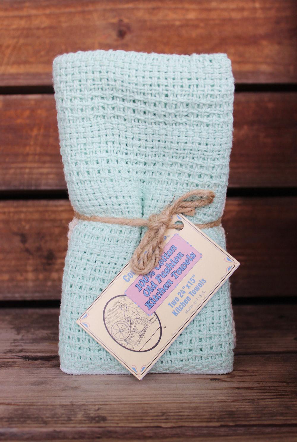 Mint Green & Natural Kitchen Towels