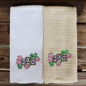 "Embroidered ""Mom"" and flowers kitchen towel"