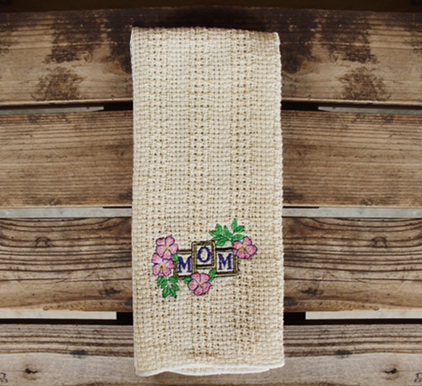 """Embroidered """"Mom"""" and flowers kitchen towel"""