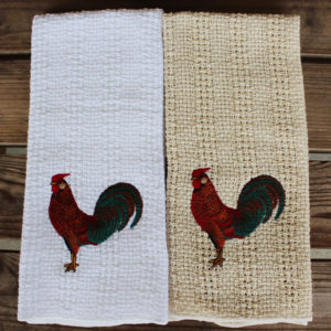 Embroidered rooster kitchen towel