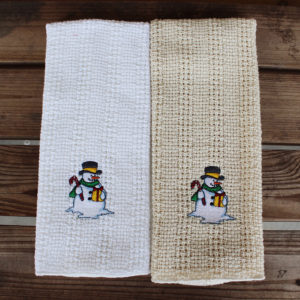 snowman embroidered kitchen towel