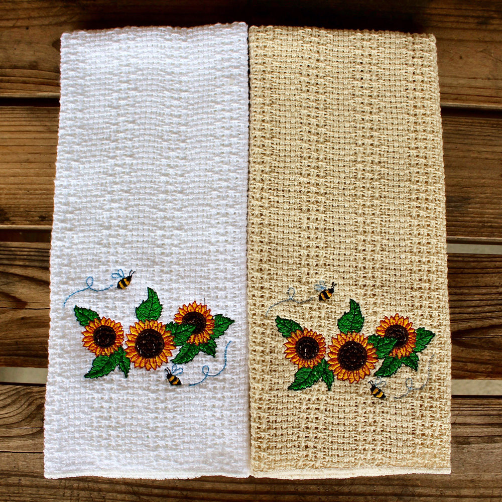 Embroidered sunflowers kitchen towel