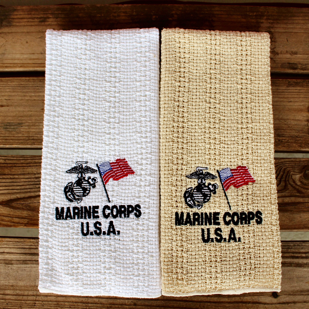 24″x15″ Cotton Kitchen Towel With Military Embroidery