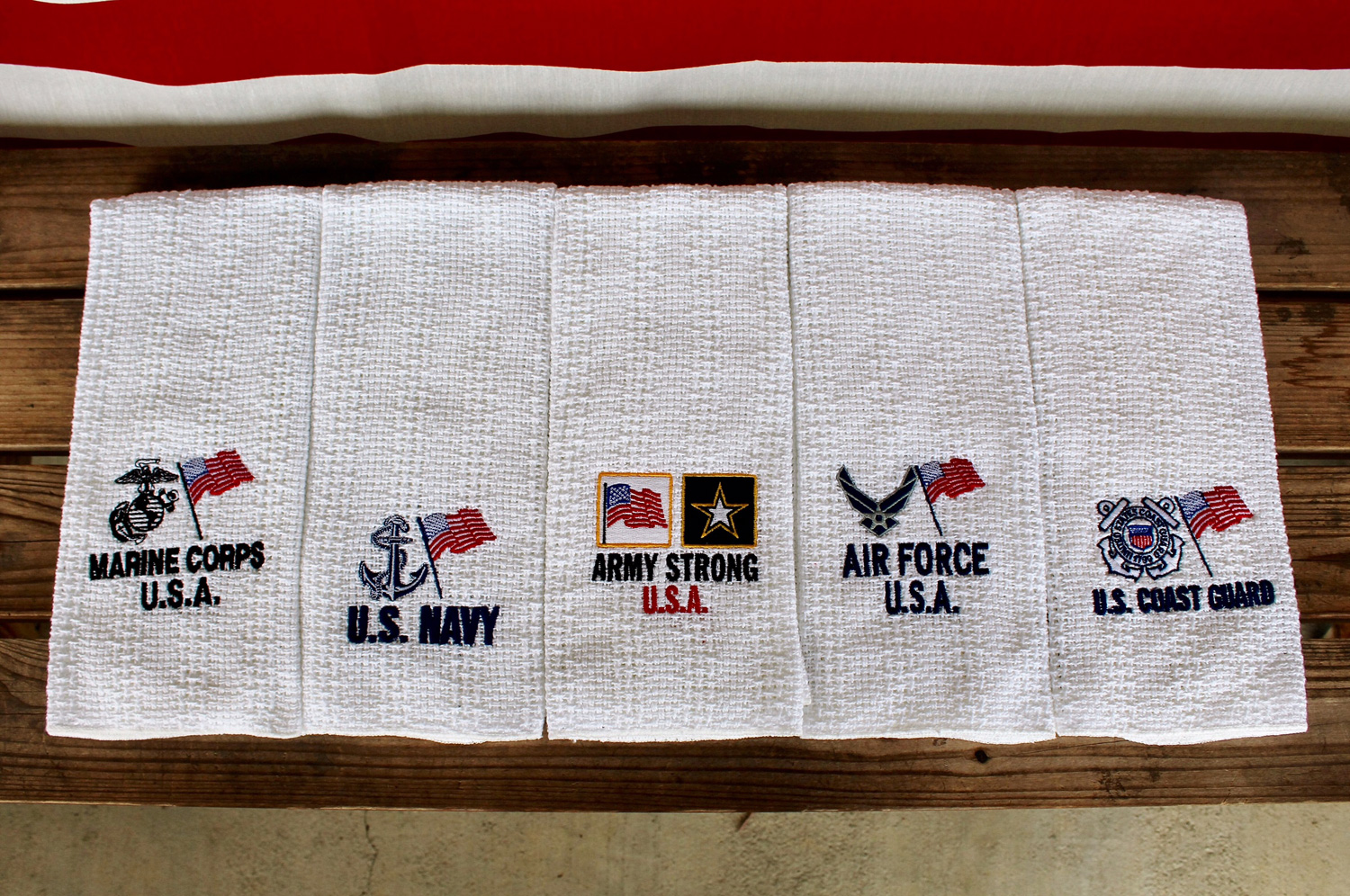 US Military embroidered kitchen towels