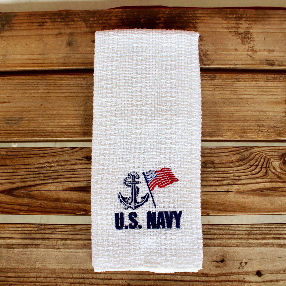 us navy embroidered kitchen towel